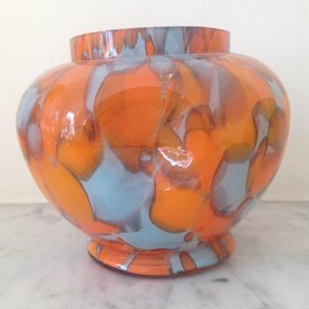 Welz dimpled tangerine spatter rosebowl