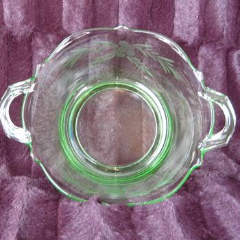 depression elegant green handled bowl - Glassware