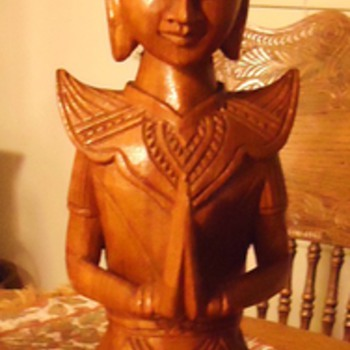 Buddhist wood carved statue, 21 inch and 5 pounds, Name of this Buddhist Man? - Folk Art