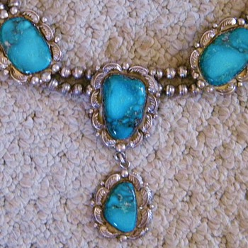 Vintage Navajo Turquoise Squash Blossom Sterling Necklace  - Fine Jewelry