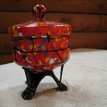 A Footed Candy Dish and Matching Vase