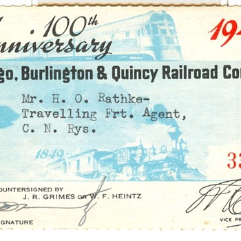Special Commemorative Railroad Pass