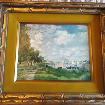 oil painting from thrift store,  frame is good!  $6.00 copy of  Monet??