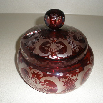 Ruby Bohemian glass candy dish