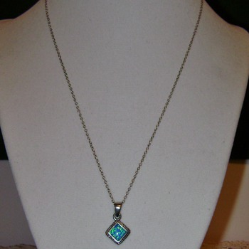 Sterling Silver Necklace with Opal Pendant - Fine Jewelry
