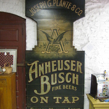 Antique Anheuser Busch Tavern Beer Sign circa 1890 Painted On Wood - Breweriana