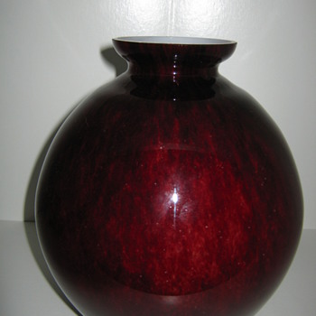 Kralik oxblood large ball vase Czechoslovakia - Art Glass
