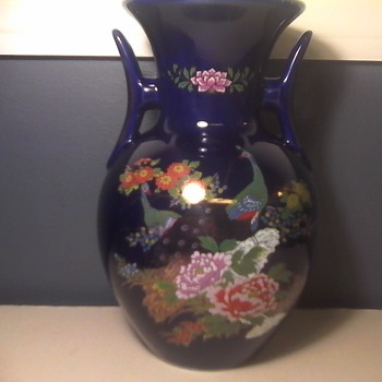 Japanese Peacock Vase - Asian