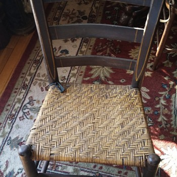old wood chair with woven cane seat - Furniture