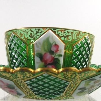 Antique Bohemian Art Glass Ramekin