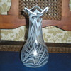Bohemian Art Nouveau clear and milk glass vase.