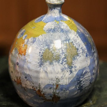 Mid-century Vase with Crystalline Glaze - Pottery