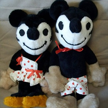 1920's-30's Vintage Mickie & Minnie Stuffed Toys - Animals