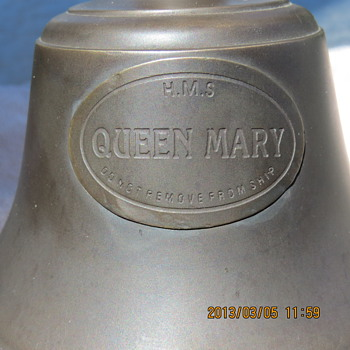 5in Brass Bell with HMS Queen Marry ebossed on it..