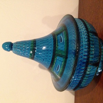 Italian blue and black ceramic candy dish with lid - Art Pottery
