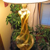 Gigantic Yellow and white Swirl Art Glass Murano Lamp