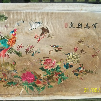 Large Silk Embrodied Picture - Asian
