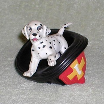 Dalmatian and Fire Hat Porcelain Figurine - Firefighting
