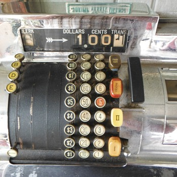 1930s Art Deco Large Chrome National Cash Register - Art Deco