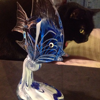 Glass fish on a wave - Art Glass