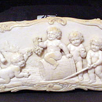 Huge and rare pre ban ivory cameo of cherubs - Victorian Era