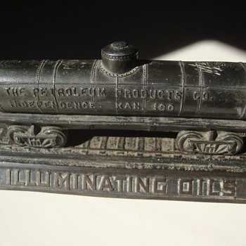 Amazing 100 Year-Old Kansas Petroleum Co. Advertising Railroad Fuel Tanker Desk Ornament