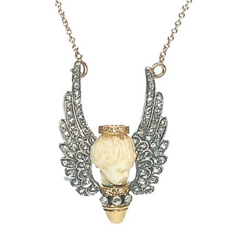 Ivory / gold/ silver cherub necklace - Fine Jewelry