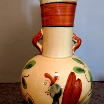 Made in Japan looks like Mexico stylized bird crackle glaze vase.  - Asian