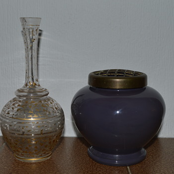 Two Bohemian? glass vases