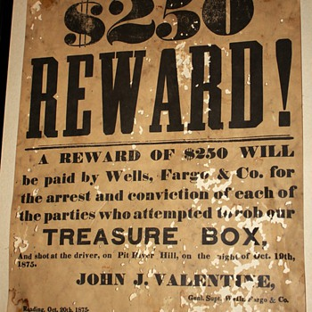 $250 Reward! - 1875 Wells Fargo Robbery Reward - Posters and Prints