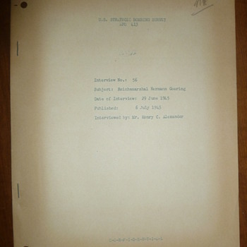 1945 USSBS Interview w/ Hermann Goering - Military and Wartime
