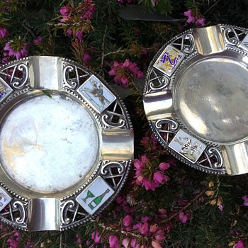 Two Silver and Enamel William Hair Haseler Ashtrays. - Tobacciana