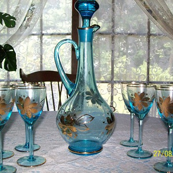 blue crystal wine decanter - Art Glass