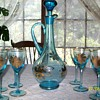 blue crystal wine decanter