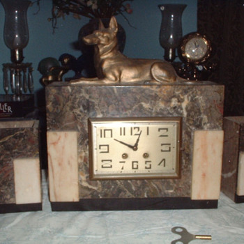Art Deco Nefer-Temu Pharaoh Hound Clock and  Garnitures case with Henri Japy Freres Movement, 1920-25