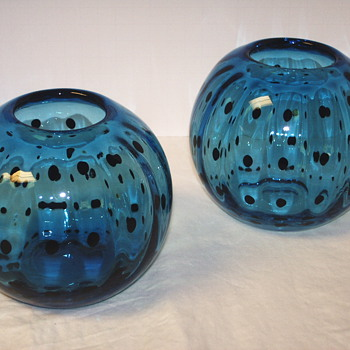 "Pair of Round Light Blue Vase ""XX century"