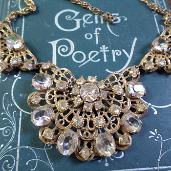 Bib Necklace, Clear Rhinestones and Gold Tone