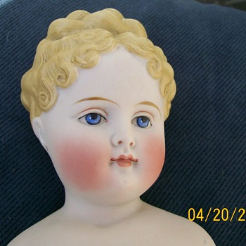 Parian painted eye 1860's-1880's German Doll  - Dolls