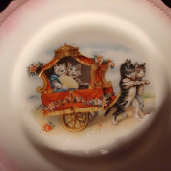 Child's Victorian Cat Porcelain Tea Set