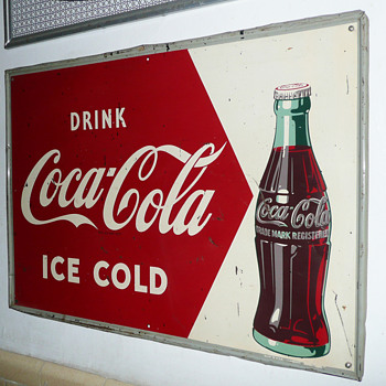 Coca Cola Tin Sign 1950's  - Coca-Cola