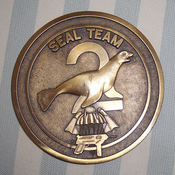 Vintage Brass Plate - SEAL Team 2 USA - Military and Wartime
