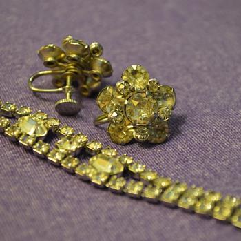 """Diamond"" Earrings and Bracelet from my Great-Grandma"