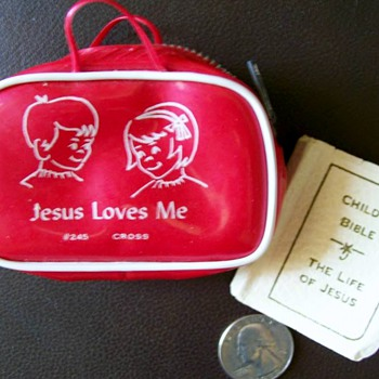 1950's Childs Vinyl Bible case and Tiny Baby Bible circa 1923