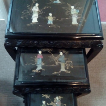 My Chinese black lacquer nest of tables