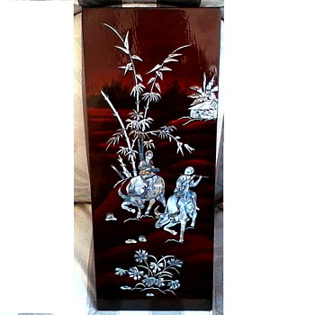 "Japanese Inlaid Abalone -MOP Lacquered Panel / 8"" x 20"" /Circa 20th Century"