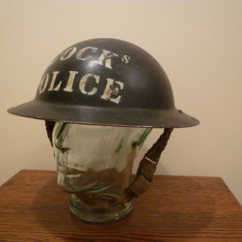 British WWII Docks Police steel helmet. - Military and Wartime