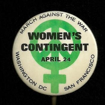 Three 1971 Woman's March Vietnam Protest Pinback Button's
