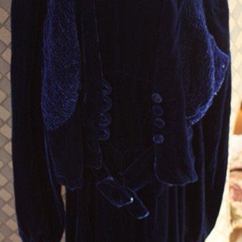 1930'S ROYAL BLUE VELVET DRESS,BOLERO & HAT - Womens Clothing