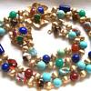 Vintage Napier Art Glass Bracelet and Necklace w/fancy Clasp.
