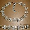Rhinestone Fleur De Lis & Enamel & Rhinestone Flower Choker & Bracelet